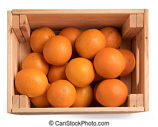 top view of Ripe sweet tangerines in wooden box isolated on white background