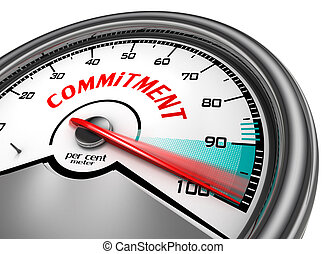 commitment to hundred per cent conceptual meter, isolated on white background