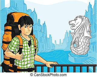 Tourist Enjoying Singapore View