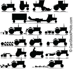tractor vector silhouettes