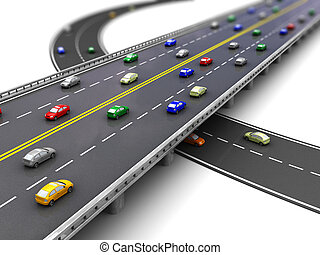 3d of road way with several cars driving