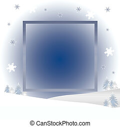 tranquil winter scene frame trees and snow illustration