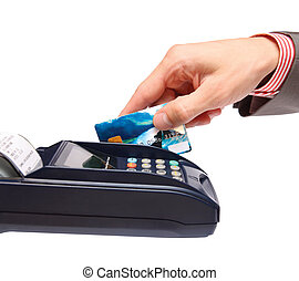 transaction - men hand with credit card in payment terminal