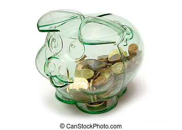 Happy pig with Euro coins inside.