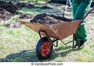 Transport on a wheelbarrow