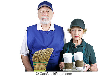 A senior couple stuck in boring service jobs because they can't afford retirement. Isolated on white.