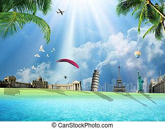 Travel around the world conceptual illustration with international landmarks