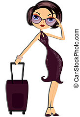 Travel Girl with Clipping Path