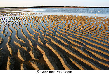 Rippled sand at beach in Maine