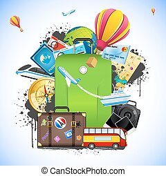 illustration of travelling element like bus, train, hot air balloon and ticket around baggage