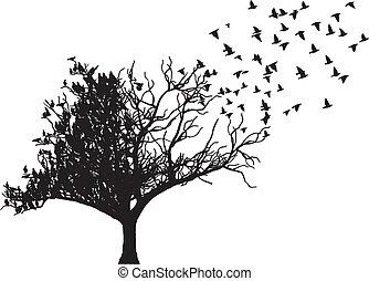 tree with fly bird art vector
