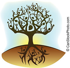 illustration of a tree created from humanoid shapes