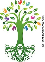 Tree of life with print hands and roots logo vector