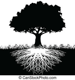 Illustration of silhouette tree with roots as a symbol of nature.