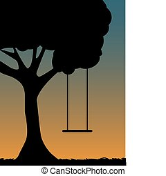 Outlined silhouette of single swing against blue and orange sky editable vector illustration