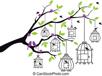 tree with open birdcages, vector