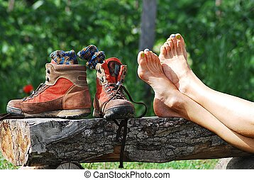 trekking shoes and bare feet