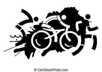 Triathlon grunge motive