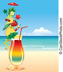 Tropical cocktail, in a richly decorated glass