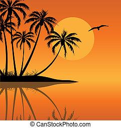 Tropical Island with Bird and Sun