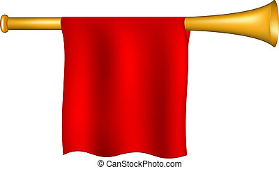 Trumpet with red flag on white background