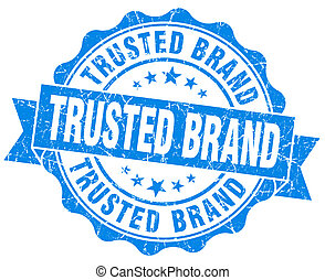 trusted brand blue grunge seal isolated on white