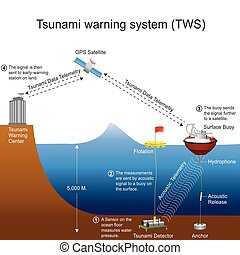 A tsunami warning system (TWS) is used to detect tsunamis in advance and issue warnings to prevent loss of life and damage. It is made up of two equally important components: a network of sensors to detect tsunamis and a communications infrastructure to issue timely alarms to permit evacuation of ...