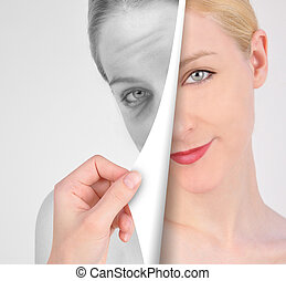A hand is turning a paper of a young, eye on a wrinkled woman's face in black and white for a youth concept.