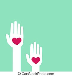 Turquoise background with hands holding hearts. charity, philanthropy, support, giving, help, love concept.