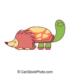 Turtle and porcupine