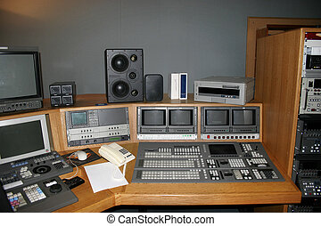 TV Studio gallery with monitors and mixers
