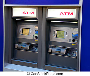 Two ATM machines waiting to be used