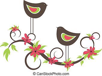 Two birds in love. vector