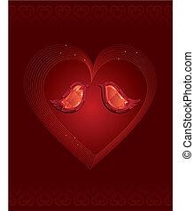 Two diamond love birds