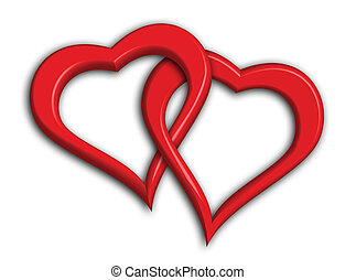 Two hearts intertwined - clipping path included (drop shadows not included in clipping path)