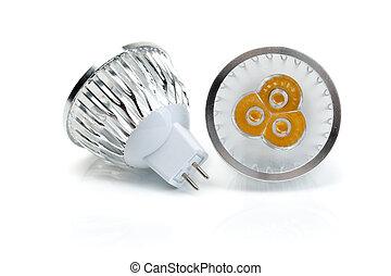 Two LED bulbs MR16.