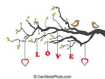 Two love birds and love tree vector illustration