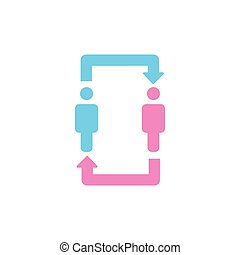 Two persons communication and relationship icon. men and womqn with arrows icon. Relationship, discussion, translation and exchange of ideas icon. vector illustration.
