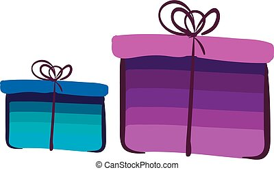 Two present boxes wrapped in colorful decoration paper tied with brown ribbons and topped with decorative bow works especially well for gifts vector color drawing or illustration