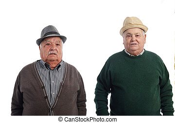 Two senior friends with hat