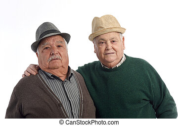 two senior man on white
