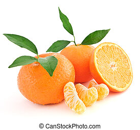 Two whole Tangerine oranges and one sliced isolated on white background