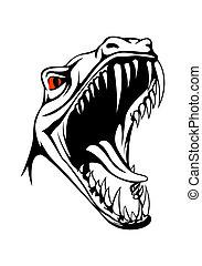 Vector tyrannosaurus head on white background