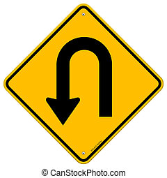 Yellow road sign with turn symbol isolated on white background
