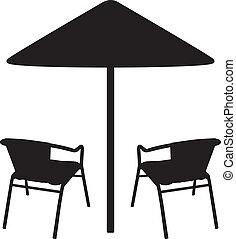 Umbrella and chairs shadows