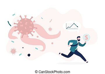 Unhappy and shocked trader or investor run from corona virus pandemic. Falling financial markets, pandemic viral infection.
