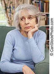 Unhappy Senior Woman At Home