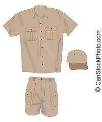 Uniform illustration, hat shirt and shorts
