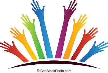 Color Group of Hands over horizon