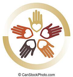 United loving hands vector design.